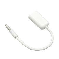 En gros 500 Pcs / lot 2 en 1 3.5mm Mâle à Double Femelle Jack Plug Écouteur Audio Split Câble Adaptateur Blanc Couleur