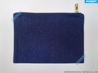 Maç mavi astarlı Metalik altın Zip Blank Mavi Saf Pamuk Denim Kozmetik Çanta ile 7x10 inç 10oz İndigo Mavi kabartılmış Denim Makyaj Çantası