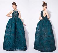 Azzi und Osta 2016 Luxus Ballkleid Prom Kleider Pailletten Kristall Perlen Organza Durchsichtig Puffy Abendkleid Arabisch Party Kleid