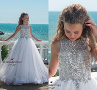 Sparkly Crystal White Princess Pageant Dresses 2018 Luxury Tulle Floor Length Abiti da sposa per bambini Formale Flower Girl Prom Gown