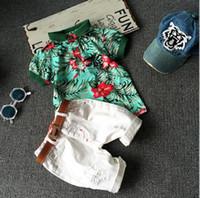Summer Baby Boys Set Floral Branco Camisa de Algodão de Manga Curta + Shorts Kids 2pcs Set Crianças Outfits Roupas Set 1255