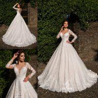 Арабский скромный с длинными рукавами V-образным вырезом A Line Свадебные платья Свадебные платья Кружевные аппликации на заказ vestidos de novia 2018