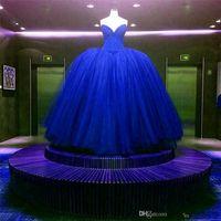 Nieuwe Volledige Crystal Beaded Bodice Corset Royal Blue Trouwjurken Baljurken Aangepaste Made Shiny Bridal Jurk Vestido Longo de Renda 418