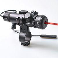 Röd Laser Sight Dot Scope Jakt Rifle Rail Mount Box Set w / 2 switchar