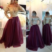 2016 New Burgundy Sheer Long Sleeves Lace Prom Dresses Appli...