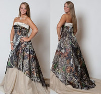 Vintage Plus Size Wedding Dresses 2015 Strapless Camo Forest Vestidos de casamento Stylish New Fashion Sweep Train Camo Print Vestidos de noiva