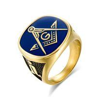 Chegada nova Amazing Blue Lodge Masonic Championship Ring Aço Freemason Signet Anéis Jóias para Homens Grátis Express Express
