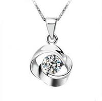 Высший сорт серебряный кулон ожерелья ювелирные изделия горячие продажа Кристалл цветок подвески Ожерелье для женщин девушка свадьба ювелирные изделия Оптовая 0131WH
