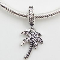 2015 Новый стерлингового серебра 925 игристые пальмы болтаться очарование кулон шарик с ясно Cz подходит Европейский Pandora ювелирные изделия браслеты ожерелье