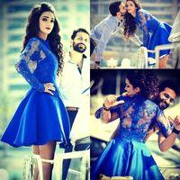 2015 Royal Blue Homecoming Dresses Short Sheer Maniche lunghe Abiti da ballo Abiti da ballo Appliqued Mini Cocktail Party Gowns