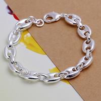 Venta caliente Mejor regalo 925 plata pulsera completa 8 palabra dfmch133, nueva moda 925 Sterling Silver Cain Link Pulseras
