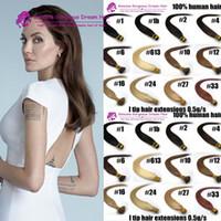 Wholesale-50g set 0.5g 16-24inch 100 ٪ شعرة الإنسان أنا تلميح ملحقات الشعر سعر المصنع عصا سترايت I نصائح الشعر