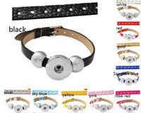 mix10 color PU noosa snap buton bracelet fit 18mm button sna...