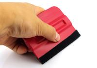 Красный Магнитный скребок 7 * 10см винил аппликаторы магнит Bondo Ракель фетровый краевую MO-140
