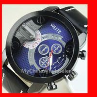 Neue Ankunft Männer Sportuhren großes Zifferblatt mit 3 kleinen Zifferblatt skaliert PU Leder Armband Männer Uhren Armbanduhren für Herrenuhr
