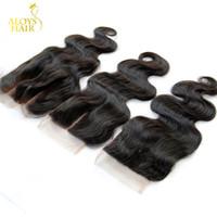Peruansk kroppsvåg spets stängning bitar gratis / mitt / 3 delgrad 6a jungfru peruanska mänskliga hår spets stängningar storlek 4x4 naturlig svart färg