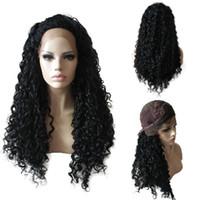 65 cm Long Femmes Bouclés Synthétique Cheveux Perruque Dames Noir Dentelle Avant Résistant À La Chaleur Cosplay Perruques Haute Qualité En Gros Au Détail Artificia Cheveux