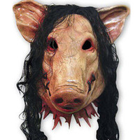 Scary Pig Mask with Long Black Hair Full Head Halloween Part...