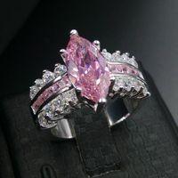 Sz 5/6/7/8/9/10 Engagement Luxury 쥬얼리 핑크 사파이어 925 스털링 실버 결혼식 Diamonique 시뮬레이션 다이아몬드 여성 반지 선물