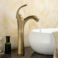 Free shipping Brass antique hot and cold water taps, deck mou...