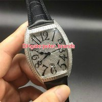 Full iced silver case automatic watch 40mm men size black le...