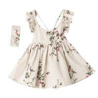 Chicas volantes mangas florales vestidos de verano niños boutique ropa 1-7y niñas niñas lino sin espalda playa bracks vestidos de alta calidad