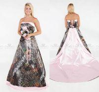 Abiti da sposa senza spalline vintage 2019 camo foresta satinato rosa bordato abiti da sposa con pizzo up e treno rimovibile abiti da sposa