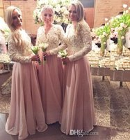Pink Chiffon Muslim Bridesmaid Dresses For Wedding Hollow Lo...