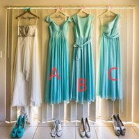Turquoise Bridesmaid Dresses Chiffon One Shoulder Bridesmaids Dress Mix Style Cheap Party Girls Wedding Maid of Honor Gown