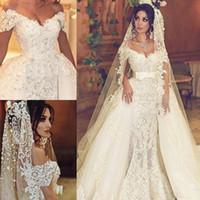 Lace Vintage Fora Do Ombro Vestidos de Casamento Tulle Overskirts Nupcial Vestidos de Baile Lace Up Voltar Vestidos de Casamento Custom Made