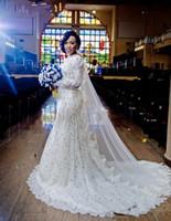 Wunderschöne arabische nigerianische Brautkleider mit langen Ärmeln Perlen Kristallkapelle Zug Spitze 2018 Meerjungfrau Brautkleider Vestidos de Noiva