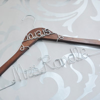Personalized wedding gift Bridal Dress Hanger, Name Hanger, cu...