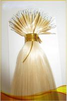 """DHL Livraison gratuite 100% produits de cheveux humains brésiliens 16 """"- 24"""" 1g / s 100s / set bâton pointe nano anneau extensions de cheveux 60 # blonde platine"""