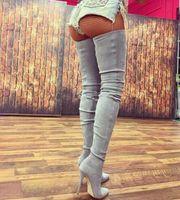 패션 여성 겨울 부츠 하이힐은 무릎 위를 가리켰다 크로 치 부츠 Chaussure Femme Stretch 스틸 레토 허벅지 하이 부츠