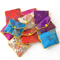 Floral Zipper Coin Purse Pouch Small Gift Bags for Jewelry Silk Bag Pouch Chinese Credit Card Holder 6x8 8x10 10x12 cm Wholesale 120pcs lot