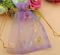 Organza Purpurroter Schmetterling Goldgaze Gunten Inhaber Tasche / Geschenk Gaze Tasche / Erster Schmucksack 100pcs / lot Kostenloser Versand WQ25