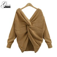 Gold Hands Autumn Spring Women Knitted Twisted Curly Back V-...