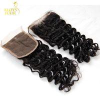 페루 딥 웨이브 레이스 클로저 크기 4X4 프리 / 미들 부분 페루 딥 컬리스 레그 톱 클로저 버진 휴먼 헤어 클로저 조각 Landot Hair