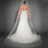 Stunning Catheral Veils Long Lace Appliques Trim Bridal Veil...
