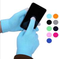 All'ingrosso-2015 nuovo autunno inverno morbido unisex puro colore touch screen guanti Texting capacitivo Smartphone maglia rinvia a tutti Spedizione gratuita