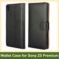Commercio all'ingrosso nuovo caso della copertura genuina Leaher vibrazione del raccoglitore arrivare per Sony Xperia Z5 Premium / Z5 Plus / E6853 con il supporto di slot per scheda di trasporto di goccia