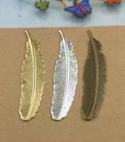 (100 pièces / lot) 52mm en laiton d'origine / bronze antique / argent en filigrane plume feuille breloques en cuivre bijoux DIY composants cy608