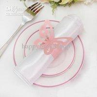 Бесплатная доставка-100шт розовый цвет винтажный стиль бумаги бабочка салфетки кольца свадьба свадебный душ салфетка держатель