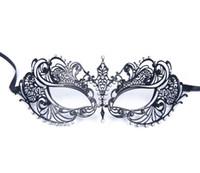 Роскошные женские лазерная резка тонкий металл Венецианский довольно красоты Маскарад Баута Маска Принцесса выпускного вечера партии черный с прозрачным Кристаллом легкий вес