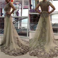 2020 섹시한 샴페인 드레스 카프 탄 두바이 아랍어 웨딩 드레스 쉬어 보석 목 캡 슬리브 얇은 명주 그물 A 라인 웨딩 드레스 새해 비즈
