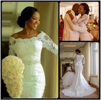 2019 New Fashion nigeriano 3/4 manica lunga pizzo applique da sposa sirena abiti con cristalli off the spalla abito da sposa