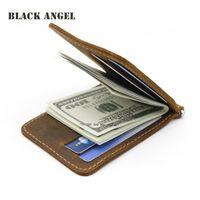 الرجال المال كليب محفظة جلد طبيعي 2 مطوية المشبك المفتوح للمال حامل بطاقة الهوية حالة النقدية كليب محفظة