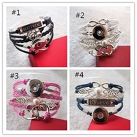 Infinity Leather snap Metal Snap Button Cuff Bracelet Interc...