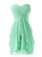 간단한 끈이 짧은 신부 들러리 드레스 2020의 연인 주름 A 라인 프릴 무릎 길이 쉬폰 댄스 파티 파티 드레스