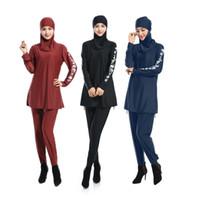 Costume da bagno donna musulmana Costume da bagno intero 3 pezzi Costume intero islamico da spiaggia S 4 Xl